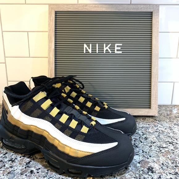 billig Nike Air Max 95 OG Mens Shoes Black Metalic Gold